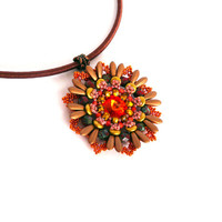 Beaded pendant, beadwork flower pendant Golda, autumn fall color pendant