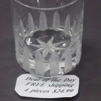 Hand cut glass whiskey 4 piece set
