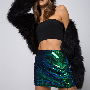 Cherry Tube Skirt in Fishcale Sequin Green Iridescent by Motel