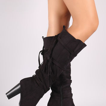 Breckelle Strappy Tassel Chunky Heeled Suede Knee High Boots