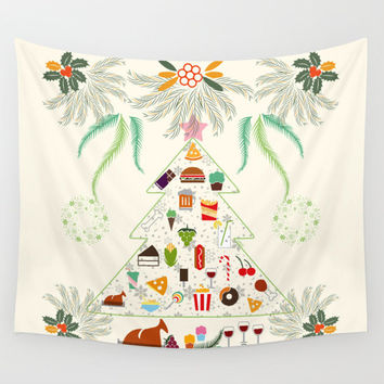 Tapestry, wall tapestry, Christmas decor, Cute tapestry, Funny food christmas tree, wall hanging, wall art
