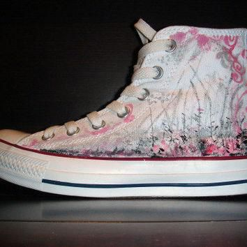 Hand Painted CONVERSE All Star Shoes Pink and Silver
