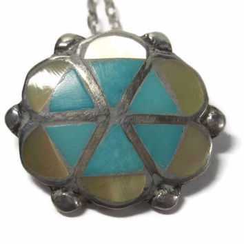 Vintage Sterling Navajo Inlaid Yellow Mother of Pearl and Turquoise Flower Pendant