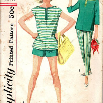 1950s Simplicity Sewing Pattern Casaul Pencil Pants Shorts Pullover Tunic Pedal Pushers Cigarette Skinny Leg Bust 36