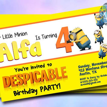 Minion Yellow Party Design For Birthday Invitation on SaphireInvitations