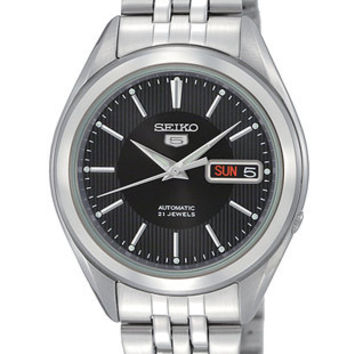 Seiko 5 Automatic Mens Watch - Black Dial - Steel Case - Bracelet - Day and Date