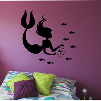 Mermaid Wall Decal fishes Sticker Art Decor Bedroom Design Mural interior design kids room ocean sea beach home decor