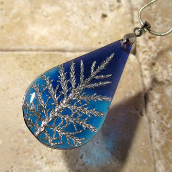 Stair Step Moss (Hylocomium splendens) aka Mountain Fern Moss Necklace, woodland, bryophytes, plant jewellery, nature jewelry, leaf,  blue