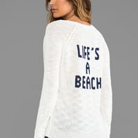 360 Sweater Life's a Beach Sweater in White & Indigo