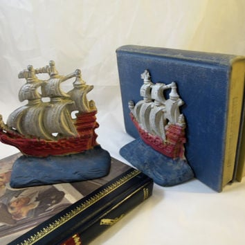 Vintage Cast Iron Ship Bookends Red White Blue Paint 6 x 5.5 x 2 inches  Iron Tall Clipper Ships Full 6 Sails Pirate Book Ends