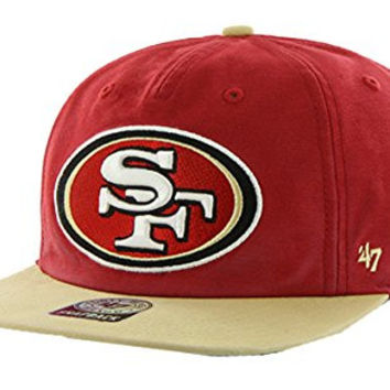 San Francisco 49ers NFL Football Red Marvin 47 Brand Flatbill Snapback Hat W1
