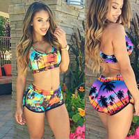 SIMPLE - Floral Women Erotic Sexy Swimsuit Bikini Set b4636