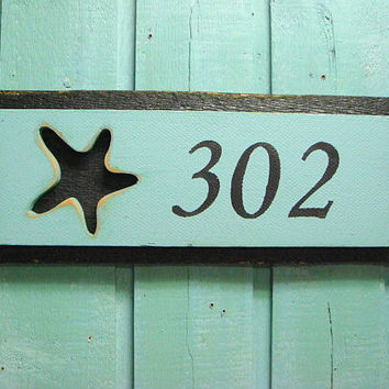House Number Sign Beach Lake House Decor - 2 Numbers