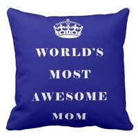 World's Most Awesome Mom Duo Navy & Blue Throw Pillow