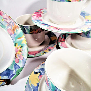 Retro Early 1990's Vitromaster Harmoni Harmony cups and saucers, coffee cups, tea cups
