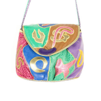 80s NEW NAS purse / vintage 1980s bag / rainbow metallic gold / teal purple pastel patchwork / abstract / kawaii / crossbody / deadstock