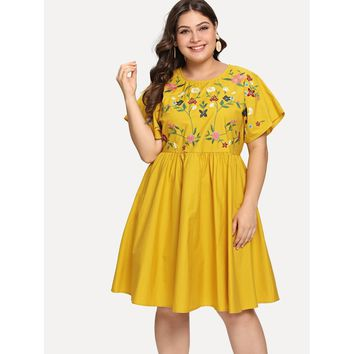 Plus Flutter Sleeve Botanical Embroidery Dress Yellow