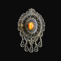 Victorian Sterling Silver And Tiger's Eye Pendant/Brooch, Filigree And Scroll Design