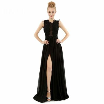 Sexy Black Chiffon Sleeveless Scoop Neck Prom Dresses A Line High Slit Beading Appliques Floor Length Prom Dress