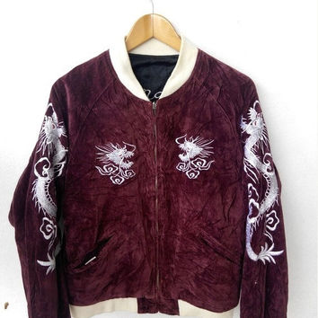 CRAZY SALE 25% Vintage 80's JAPAN Yokosuka Dragon Tiger Satin Sukajan Embroidered Souvenirs Reversible Velvet Red Jacket