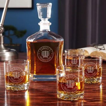 Private Stock Whiskey Glass and Decanter Set