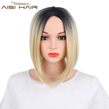 I's a wig  Bob Style Straight Ombre Synthetic Wigs for Women Dark and Gold Color Blonde Wig With Heat Resistant