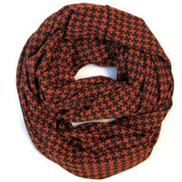 Cute and Cozy Houndstooth Infinity Scarf Warm Winter Eternity Endless Loop Scarf Black Amber Red Scarf Womens Teen Tube Scarf