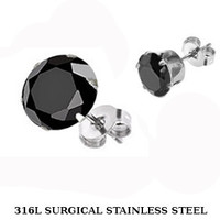 Shooting Star 10mm - Surgical Stainless Steel Stud Earrings with Black Cubic Zirconias