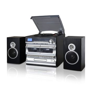 Trexonic Shelf Turntable With CD, Double Cassette Player, Bluetooth, FM Radio & USB/SD Recording