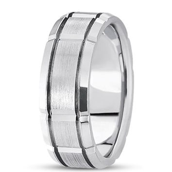 14K Gold Mens Fancy Wedding Band (8.5mm)