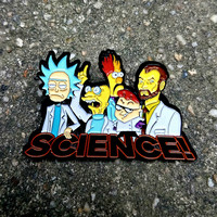 Science! 5 Famous Cartoon Scientists Rick and Morty Hat Pin