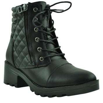 Womens Ankle Boots Lug Sole Chunky Heel Lace Up Quilted Booties black
