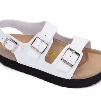 2017 Birkenstock Summer Fashion Leather Cork Flats Beach Lovers Slippers Casual Sandals For Women Men Couples Slippers color white