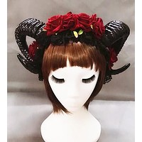 Red Rose Ram Horns Hairpiece
