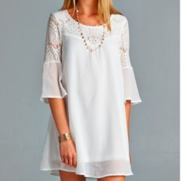Off White Chiffon Shift Dress with Lace Detaili