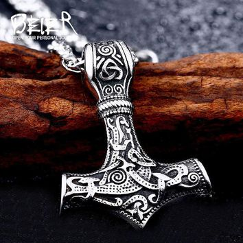Beier 316L stainless thor's hammer mjolnir pendant necklace viking scandinavian norse viking necklace f Men gift fashion jewelry