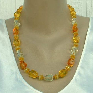 West Germany Necklace Citrine Plastic Crystal Bead Vintage Jewelry