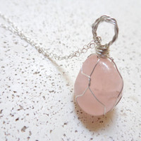 Rose Quartz Pendant Wire Wrapped Sterling Silver Necklace Healing Crystal Boho Necklace