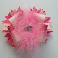 Pink Ombre Boutique Bow with Marabou and Rhinestone