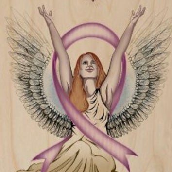 Angel & Dove Breast Cancer Awareness Ribbon - Plywood Wood Print Poster Wall Art