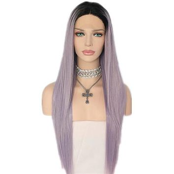 Long Thistle Light Purple Ombre Synthetic Lace Front Wig