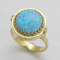 Yellow gold with blue opal engagement ring Snow by artisanimpact