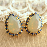 Blue and Grey Crystal big teardrop stud earring - 14k plated gold post earrings real swarovski rhinestones.