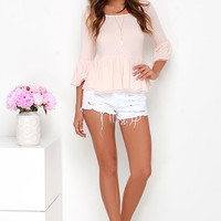 Stay Sweet Blush Peach Babydoll Top