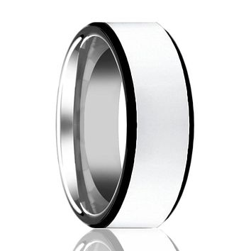 Men's Tungsten Wedding Band with Polished Center & Black Edges - 8MM