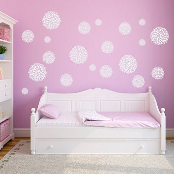 Chrysanthemum Flower Wall Decals - Set of 20 Flowers - Girls Bedroom Decals - Flower Wall Stickers - Large Decal Set