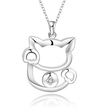 Cute Fortune Cat Cube Zircon Pendant Necklaces Silver Colour Plated Crystal  Kitty Hanging Charm Collar Gift for Ladies Jewelry