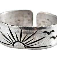 White Metal Sun and Birds Ring