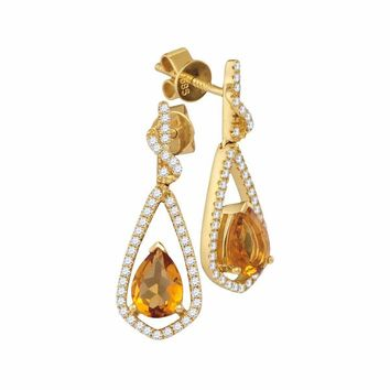14kt Yellow Gold Women's Pear Natural Citrine Diamond Dangle Earrings 1-5-8 Cttw - FREE Shipping (US/CAN)