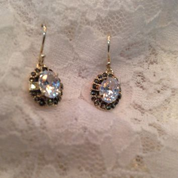 Real Clear Crystal Cubic Zirconia Marcasite 925 Sterling Silver dangle earrings
